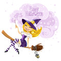 Cute witch flying on a broom Stock Images