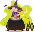 Cute witch with pot mixing potion in a eps Stock Photography