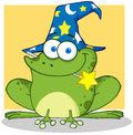 Cute wizard green frog magic wand mouth Royalty Free Stock Photography