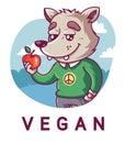 Cute wolf holding an apple. Peaceful vegan.