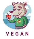 Cute wolf holding an apple. Peaceful vegan.