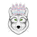 Cute wolf portrait with war bonnet on head. Hand drawn kitty fac Royalty Free Stock Photo
