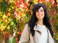 Cute woman in autumn Stock Images