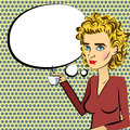Cute woman blonde hair pop art drinking coffee Royalty Free Stock Photo