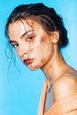 Cute woman with body art of orange glitters fashion beauty make up Royalty Free Stock Image