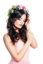 Cute Woman Fashion Model with Wavy Brown Hair with Flowers Wreat