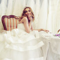 Cute woman fiancee and white dresses Stock Photo