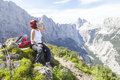 Cute woman hiker with hip flask Royalty Free Stock Photo
