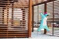 stock image of  Cute woman in kigurumi unicorn costume jump like superhero