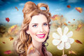 Cute woman with magnificent hair beauty in nature outdoor fashion photo of a beautiful autumn Royalty Free Stock Images