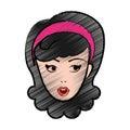 Cute woman pop art character