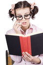 Cute Woman Reading Romance Novel Over White Stock Photos
