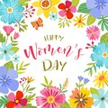 Cute Women`s Day colorful floral frame
