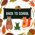 Cute Woodland and Forest Animals in School