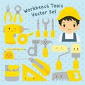Cute Worker and Tools Vector Set Royalty Free Stock Photo