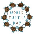 Cute world turtle day blue circle cartoon vector illustration motif set