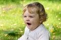 Cute yawning infant image of beautiful girl Stock Photo
