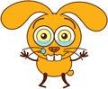 Cute yellow bunny crying and feeling sad