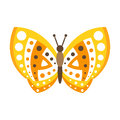 Cute yellow butterfly with open wings colorful cartoon vector Illustration