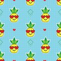 Cute yellow cartoon pineapples emoji face with red heart sunglasses on blue background pattern