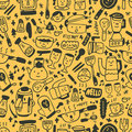Cute yellow cartoon seamless pattern Stock Image