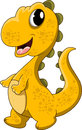 Cute yellow dinosaur cartoon illustration of Stock Photo