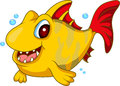 Cute yellow fish cartoon illustration of Royalty Free Stock Photography
