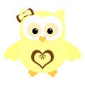 Cute yellow owl funny little with a heart on his tummy illustration Stock Images