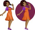 Cute young african american woman singer vector illustration in cartoon and flat design style Royalty Free Stock Image
