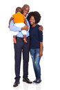 Cute young african family their child isolated white Stock Photography