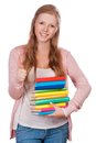 Cute young attractive student girl holding colorful exercise books Royalty Free Stock Photos