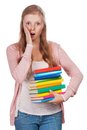 Cute young attractive student girl holding colorful exercise books Stock Photography