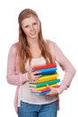 Cute young attractive student girl holding colorful exercise books Stock Images