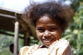 Cute young black african girl poor child madagascar Stock Photos
