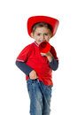 Cute young boy in a fireman helmet Royalty Free Stock Photo