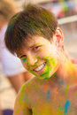 Cute young boy smiling with colored face Royalty Free Stock Photo