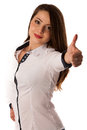 Cute young caucasian woman isolated over white background gesturing success by showing thumb up Stock Photos