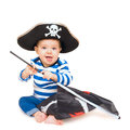 Cute young child dressed as pirate over white isolated on the kid wearing in costume Stock Photos