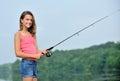 Cute young girl fishing Royalty Free Stock Photo