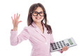 Cute Young Girl with Glasses and Calculator. Royalty Free Stock Photo