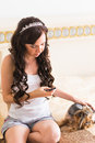 Cute young girl with her Yorkie puppy Royalty Free Stock Photo