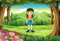 A cute young girl standing near the trees illustration of Royalty Free Stock Photo