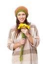 Cute Young Girl with Yellow Flowers Royalty Free Stock Photos