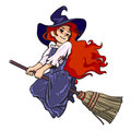 Cute young halloween witch flying on broom.