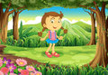 A cute young lady in the middle of the forest illustration Royalty Free Stock Image