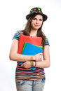 Cute young student girl. Royalty Free Stock Photo