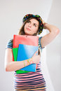 Cute young student girl. Stock Photography