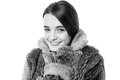 Cute young teen girl in fur jacket Stock Photos