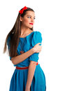 Cute young woman in blue dress Royalty Free Stock Photo