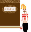 Cute Young Woman at a Coffee House Royalty Free Stock Photo